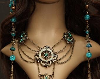 Mermaid nymph steampunk elven ox brass bronze collier necklace statement chains