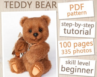 Teddy Bear PATTERN & Tutorial Stacy - Instant download PDF, sewing pattern, detailed instructions, step-by-step tutorial