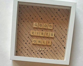 Personalised Scrabble Frame Wall Art Artwork Birthday Gift Present Home Decor Homewares