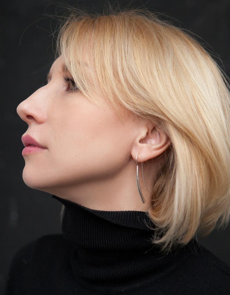 silver stick earring geometric earrings minimalist bar earrings funky earrings simple modern earrings Silver bar earrings dangle