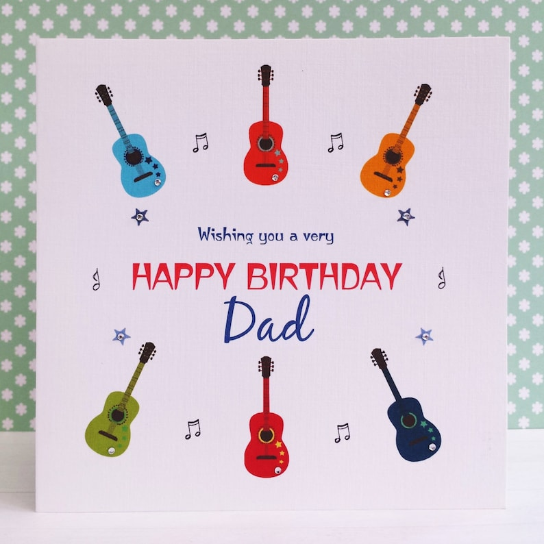 HANDMADE Personalised Card Guitars Music Birthday