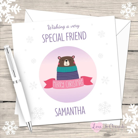 Friend Christmas Card ~ To A Very Special Friend Christmas Wishes ~ Santa Bear /& Bunting Quality Card