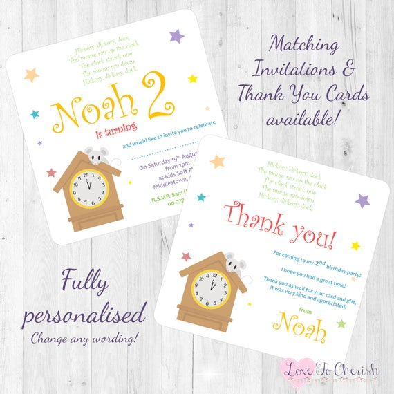 Hickory Dickory Dock Nursery Rhyme Themed Personalised Birthday Party Invitations Invites Thank You Cards Printed With Envelopes PreSchool