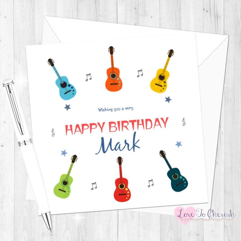 Personalised Birthday Card Guitars Music Theme
