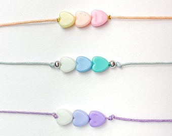 Heart Love Acrylic Bracelet in Pastel Personal Customized Initial
