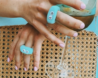 Chunky Letter Ring in Polymer Clay | Fimo Chunky Pastel Cowrie Set Boho Trend