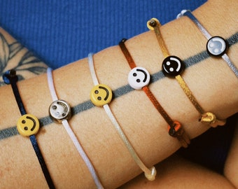 HAPPY Satin Bracelet | Smiley Face Happy | Emoji Blogger Style Fashion Smile Best Friends Wish Bracelet