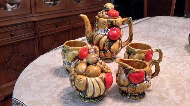 marked 7 piece mid century tan 1970s Majolica Vintage Inarco Fruit Harvest Coffee Serving Set Made in Japan citrus, Orange Spice