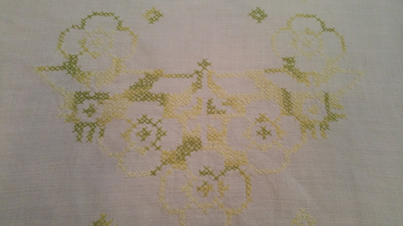 dresser scarf shabby chic 1940s tattled lace green cross stich cottage lace trim Vintage Hand Made Green Cross Stich Table Runner