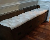 COTTON CANVAS, 35 x 16.75 quot natural color, Tufted bench cushion, seat cushion,