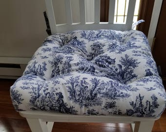 Genial Tufted Chair Pad, Chair Cushion, Chair,seat Cushion, Navy Blue And White  Toile, Porcelain Blue, Seat Cushions, Cotton,