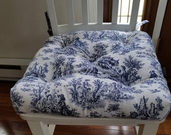 Tufted Chair Pad, Chair Cushion, Chair,seat Cushion, Navy Blue And White  Toile, Porcelain Blue, Seat Cushions, Cotton,