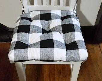 Set of 2 Tufted chair pads 14  x 14  seat cushions black and white buffalo plaid cotton & Plaid seat cushion | Etsy