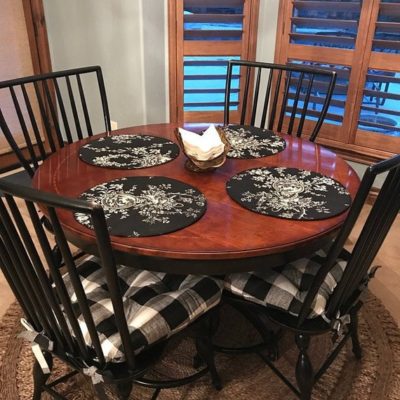 Terrific Set Of 2 Tufted Chair Pads Seat Cushions Black And White Grey And White Black And Tan Buffalo Plaid Chair Cushions Cotton Squirreltailoven Fun Painted Chair Ideas Images Squirreltailovenorg