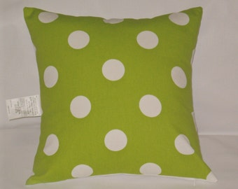 """Chartreuse lime green and white polka dot pillow, 18"""" square, cushion with insert,"""