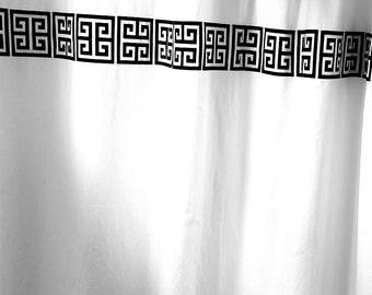 Black and white greek key shower curtain , 72W x 72L , cotton