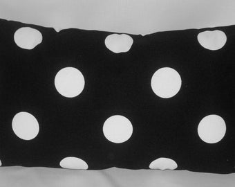 "Black and white polka dot pillow, 20"" x 12"" lumbar, black and white pillow, black and white cushion,"