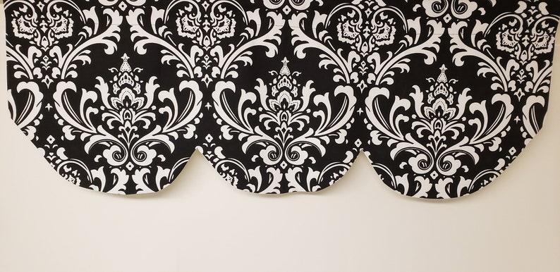Scallop shaped valance 42 x 16 black white Ozborne damask lined