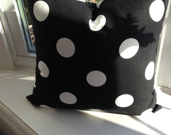 """Black and white polka dot pillow, pillow covers 20"""" square, cushion cover"""