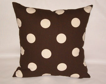 """Brown and linen polka dot pillow, 14"""" square, brown cushion with insert,"""