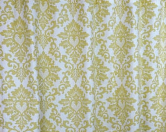 FREE SHIPPING, Two curtain panels  50W x 90L unlined, Cecelia saffron, banana yellow and white cotton curtain panels, drapes