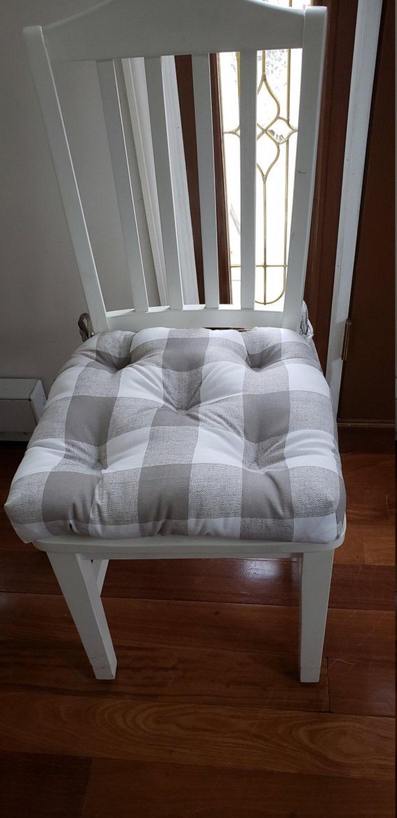black barstool cushions buffalo plaid waterbury Set of 4 chair pads Buffalo check yellow grey red