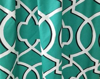 Designer fabric shower curtain , Morrow jade white 72W x 84L cotton