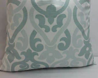 "Decorative throw pillow, Alex cotton, snowy blue and white, 18"" square"