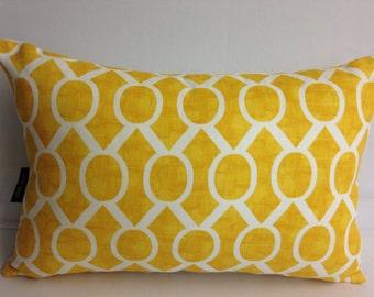 "Yellow and white decorative throw pillow 18 x 12"" lumbar sydney geometric"