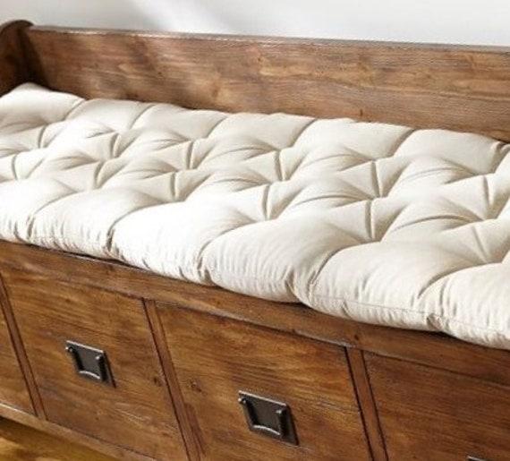 Tremendous Custom Size Tufted Bench Cushion 58 X 26 Seat Cushion Birch Beige Cotton Canvas Bralicious Painted Fabric Chair Ideas Braliciousco