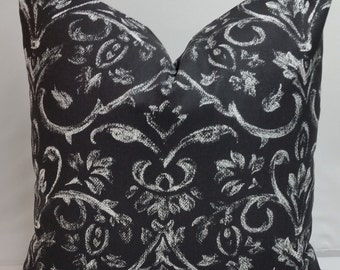 """Black and white decorative throw pillow 18 x 18""""  etchings, drawings"""