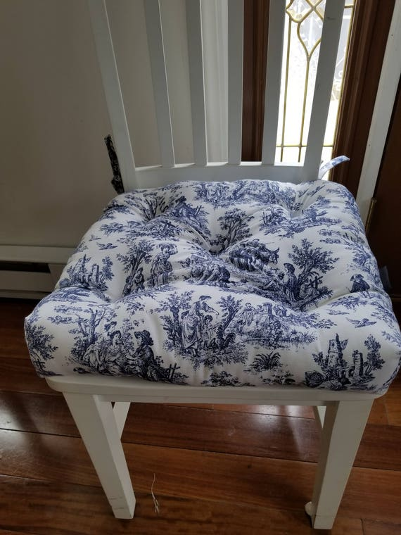 Tufted Chair Pad Chair Cushion Chairseat Cushion Navy Blue Etsy