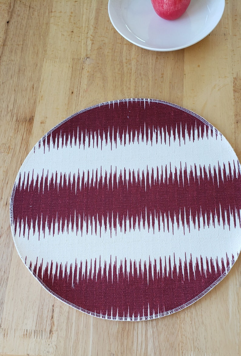 centerpiece Set of 6 cloth placemats Round placemats table accent Jiri ikat stripe burgundy and ivory cotton