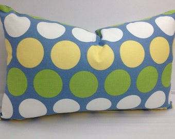 Multi color Polka dot pillow, dandie, 20 x 12 lumbar, large dots, blue, yellow, green, white, cushion,