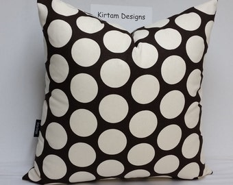 "Polka dot pillow, 20"" square, large dots, black and white pillow, black and white cushion,"