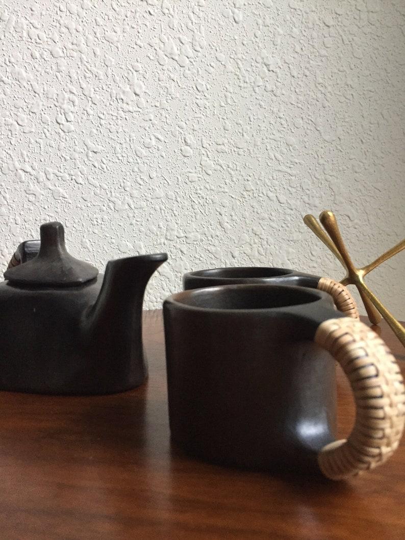 Stunning Modernist Studio Pottery Stoneware Tea Set Pot Cups