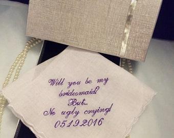 Bridesmaid proposal wedding handkerchief. Perfect bridesmaid gift. Gift box included