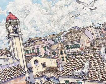 Rooftops Of Corfu ORIGINAL