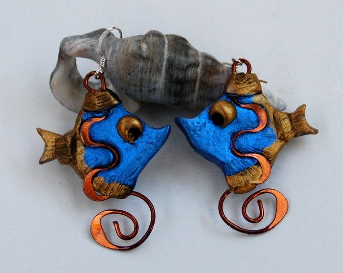 BLUE FISH EARRINGS- polymer clay and copper earrings, blue,  light, Australian jewellery,Australian made, Australian seller, Australian shop