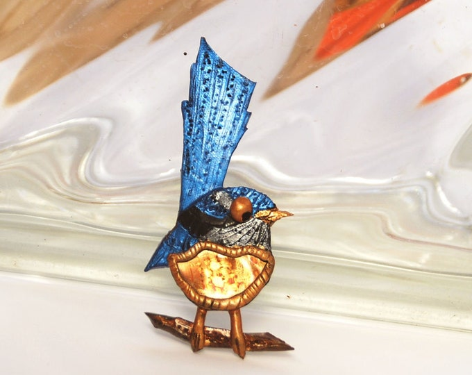 BLUE WREN BROOCH -copper, polymer clay, blue bird brooch, wren pin, copper brooch, Australian jewellery,Australian shop ,Australian seller