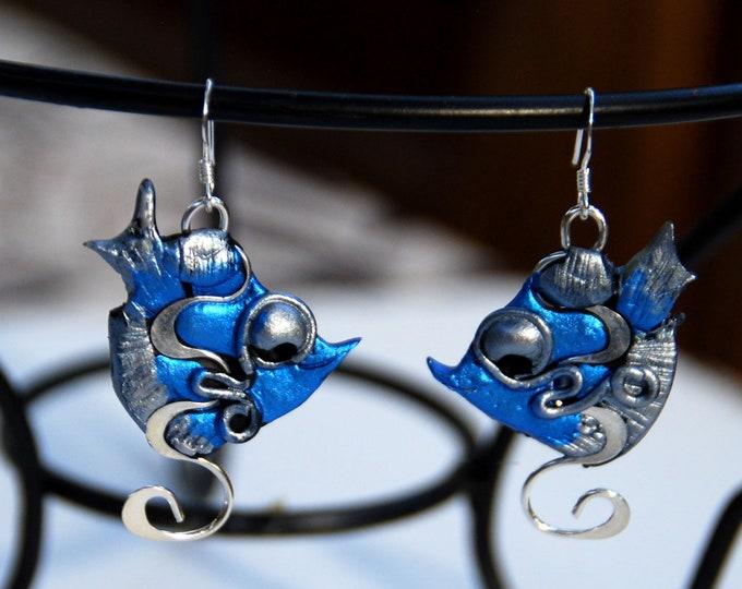 BLUE FISH EARRINGS- polymer clay and silver earrings, blue,  light, Australian jewellery,Australian made, Australian seller, Australian shop