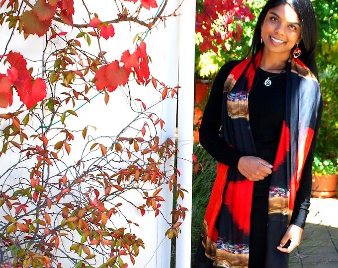 RED SCARF- luxurious scarf, red & black scarf, silky soft, unique scarf,thin scarf, large shawl , red wrap, modal scarf, Australian shop