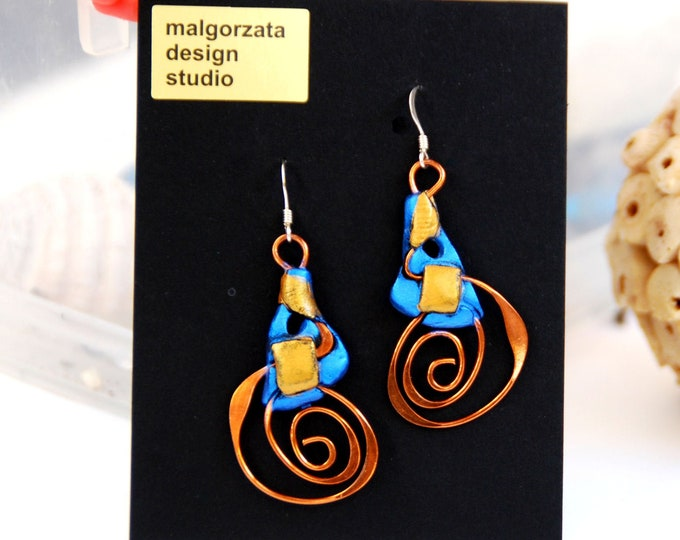 BLUE EARRINGS- polymer clay and copper earrings, blue,  light, Australian jewellery,Australian made, Australian seller, Australian shop
