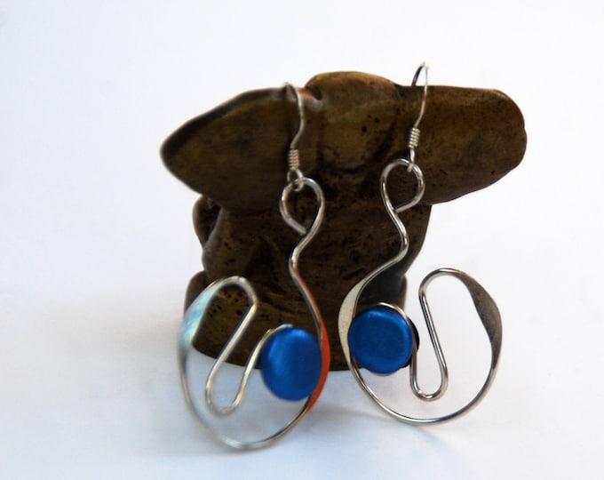 STERLING SILVER EARRINGS with blue dots - polymer clay,  blue earrings,light earrings,Australian jewellery,Australian seller,Australian shop