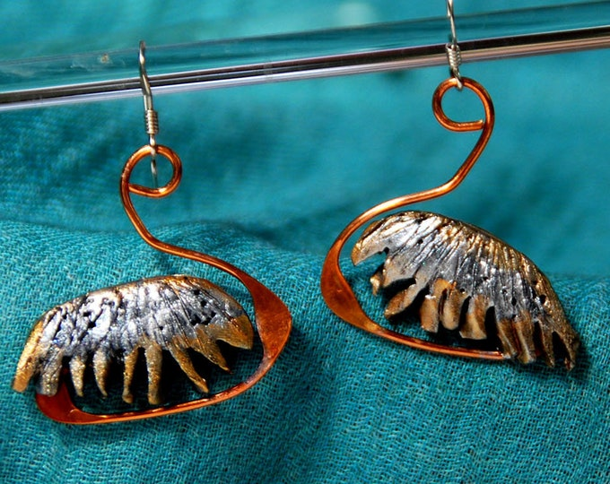 SWAN EARRINGS - polymer clay, silver, copper earrings, dangle, light earrings, Australian jewellery, Australian seller, Australian shop
