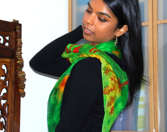 GREEN SCARF- luxurious scarf, modal scarf, Mother's day gift, silky soft,botanical silk shawl, green shawl ,large scarf, square  scarf,