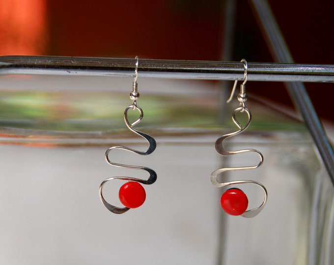 Sterling SILVER RED EARRINGS  - abstract, silver wire, contemporary, funky earrings, light earrings, Australian jewellery, Australian seller