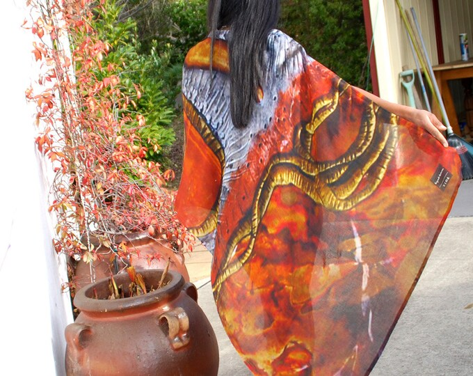 COPPER OWL SCARF- luxurious scarf, silky soft, botanical silk shawl,earthy scarf, large, copper wrap,unique shawl,modal scarf