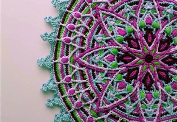 Lylah Overlay Crochet Mandala Pattern Crocheted Home Decor Etsy