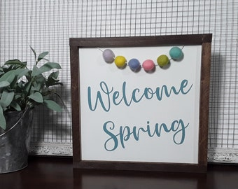 Welcome Spring Wood Sign - Farmhouse Spring Sign - Pastel Spring Decor